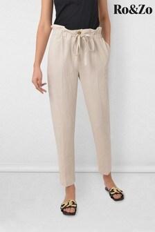 Ro&Zo Camel Linen Mix Drawstring Trousers