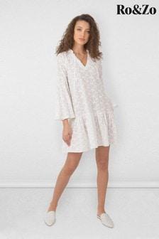 Ro&Zo White Leaf Broderie Dress