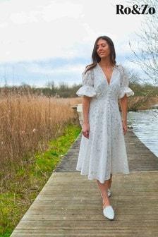 Ro&Zo White Broderie Lace Button Through Dress