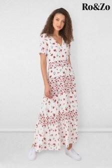 Ro&Zo White Floral Maxi Dress