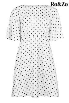 Ro&Zo White Spot Angel Sleeve Dress