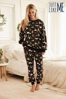 Monochrome Christmas Animal Matching Family Womens Pyjamas