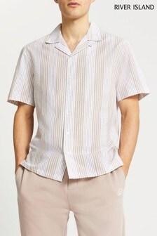 River Island Stone Light Seersucker Stripe Shirt