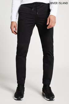 River Island Black Washed Cuffed Pull-On Chinos