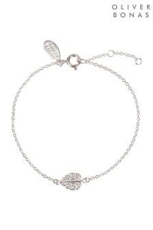 Oliver Bonas Monstera Leaf Stone Detail Silver Bracelet