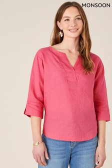 Monsoon Red Daisy Plain T-Shirt In Pure Linen