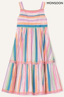 Monsoon Pink Painterly Stripe Midi Dress