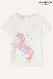 Monsoon Natural Floral Unicorn T-Shirt