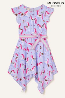 Monsoon Purple Floral Unicorn Hanky Hem Dress