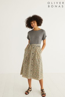 Oliver Bonas Jersey Woven Mix Floral Midi Dress
