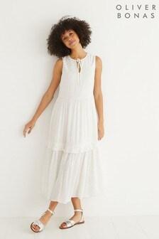 Oliver Bonas Ivory Silver Dobby Sleeveless Midi Dress
