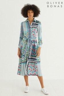 Oliver Bonas Floral Scarf Print Midi Dress