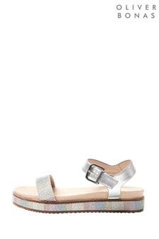 Oliver Bonas Rainbow Metallic Leather Flatform Sandals