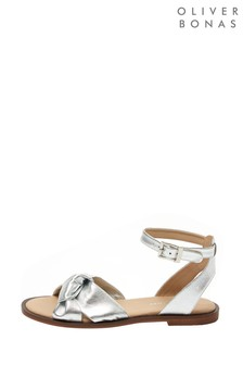 Oliver Bonas Silver Metallic Knot Slingback Leather Sandals