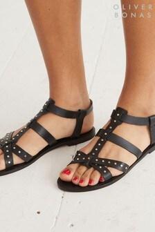 Oliver Bonas Black Studded Strappy Leather Sandals