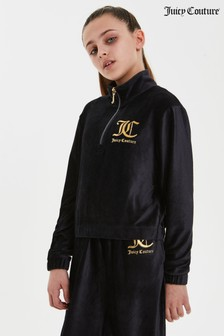Juicy Couture Corduroy Velour Quarter Zip Hoodie
