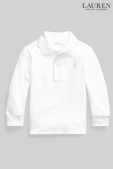 Ralph Lauren White Long Sleeve Logo Polo Shirt