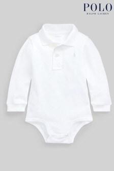 White Ralph Lauren White Logo Long Sleeve Polo Bodysuit