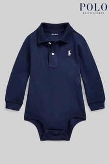 Ralph Lauren Navy Logo Long Sleeve Polo Bodysuit