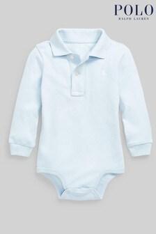 Ralph Lauren Light Blue Logo Long Sleeve Polo Bodysuit