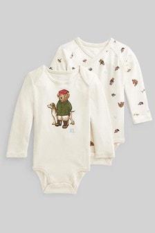 Ralph Lauren Cream Bear Bodysuits 2 Pack