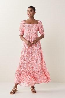 Red Floral Print Shirred Midi Dress
