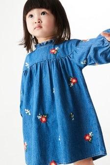 Denim Embroidered Cotton Dress (3mths-7yrs)
