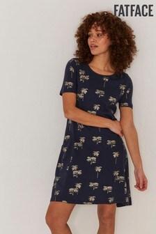 FatFace Blue Simone Foil Palm Dress