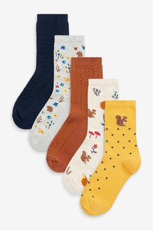 Woodland Creatures Textured Ankle Socks 5 Pack