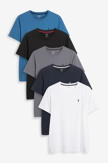 Blue Mix Crew Neck Regular Fit Stag T-Shirts 5 Pack