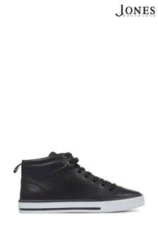 Jones Bootmaker Black Brompton Leather Ladies High Top Trainers