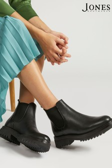 Jones Bootmaker Black Trieste Chunky Ladies Leather Chelsea Boots