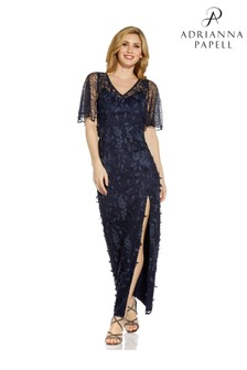 Adrianna Papell Blue 3D Embroidered Gown