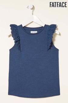 FatFace Broderie Sleeve T-Shirt