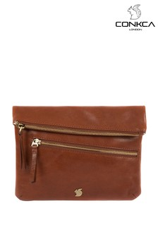 Conkca Flare Leather Clutch Bag