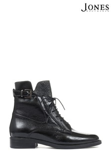Jones Bootmaker Sorrento Patent Leather Ladies Combat Boots