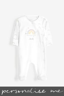 White Personalised Born in 2021 Sleepsuit