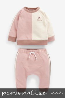 Personalised Pink Crew And Joggers Set