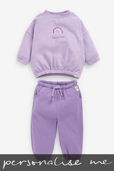 Personalised Lilac Purple Crew And Joggers Set