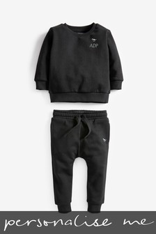 Personalised Black Crew And Joggers Set