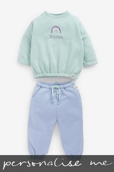 Personalised Blue Crew Neck Top and Jogger Set