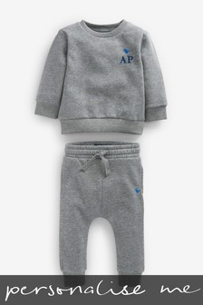 Personalised Grey Crew And Joggers Set