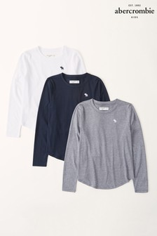 Abercrombie & Fitch Long Sleeve Curve Hem T-Shirts 3 Pack