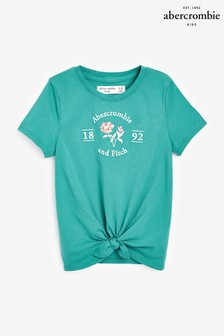 Abercrombie & Fitch Floral Logo Tie Front T-Shirt