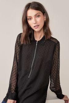 Black Embellished Zip Neck Longline Blouse