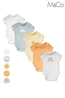M&Co Sunshine And Smiles Bodysuits 5 Pack
