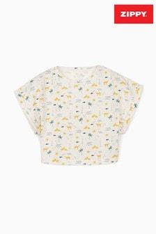 Zippy Girls White Egypt Organic Cotton Cropped T-Shirt