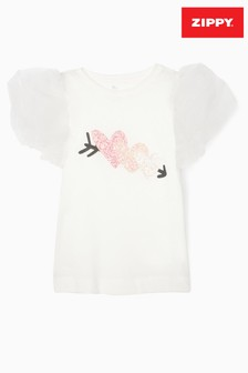 Zippy Girls White Hearts T-Shirt With Organza