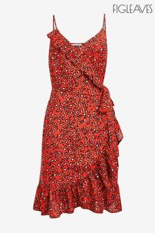 Figleaves Red Mala Cami Midi Leopard Print Dress