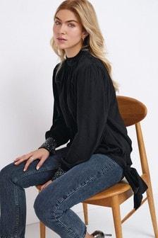 Black Embellished Cuff Top